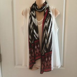 NWOT Chico's Scarf Red/Brown/White (OS)